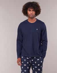 vaatteet Miehet T-paidat pitkillä hihoilla Ralph Lauren L/S CREW-CREW-SLEEP TOP Laivastonsininen