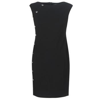 vaatteet Naiset Lyhyt mekko Lauren Ralph Lauren BUTTON-TRIM CREPE DRESS Black