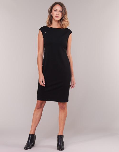 Lauren Ralph Button-trim Crepe Dress Black - Ilmainen Toimitus- Vaatteet Lyhyt Mekko Naiset 109