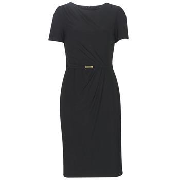 vaatteet Naiset Pitkä mekko Lauren Ralph Lauren BELTED SHORT SLEEVE DRESS Black