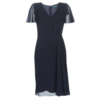 vaatteet Naiset Pitkä mekko Lauren Ralph Lauren CUTLER CAP SLEEVE DAY DRESS Laivastonsininen
