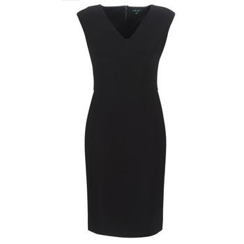 vaatteet Naiset Pitkä mekko Lauren Ralph Lauren BLACK CAP SLEEVE DAY DRESS Black