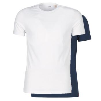 vaatteet Miehet Lyhythihainen t-paita Levi's SLIM 2PK CREWNECK 1 Laivastonsininen / White