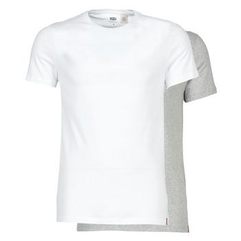vaatteet Miehet Lyhythihainen t-paita Levi's SLIM 2PK CREWNECK 1 Valkoinen / Harmaa
