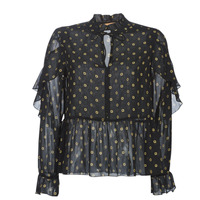 vaatteet Naiset Topit / Puserot Maison Scotch SHEER PRINTED TOP WITH RUFFLES Black