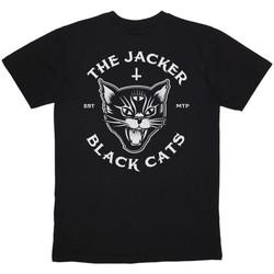 vaatteet Miehet Lyhythihainen t-paita Jacker Black cats Musta