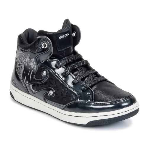 kengät Tytöt Korkeavartiset tennarit Geox CREAMY A Black