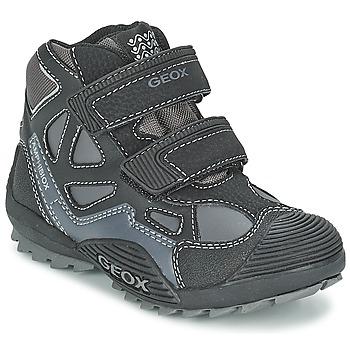 kengät Pojat Korkeavartiset tennarit Geox SAVAGE B Black / Grey