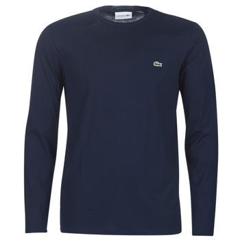 vaatteet Miehet T-paidat pitkillä hihoilla Lacoste TH6712 Laivastonsininen