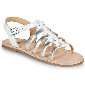 kengät Tytöt Sandaalit ja avokkaat Citrouille et Compagnie MAYANA White / Hopea