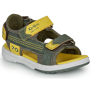 kengät Pojat Sandaalit ja avokkaat Kickers PLANE Khaki / Keltainen