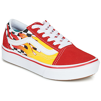 kengät Pojat Matalavartiset tennarit Vans COMFYCUSH OLD SKOOL Red / Yellow