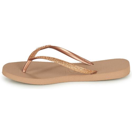 Havaianas Slim Glitter Pink / Kulta - Ilmainen Toimitus- Kengät Varvassandaalit Naiset 32