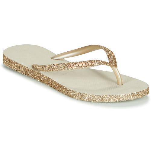 kengät Naiset Varvassandaalit Havaianas SLIM SPARKLE Beige / Kulta
