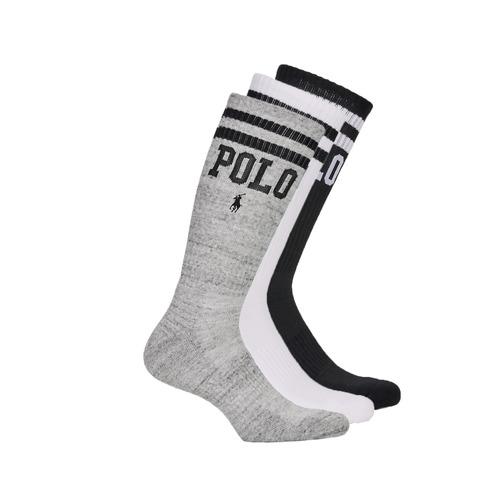 Asusteet / tarvikkeet Miehet Sukat Polo Ralph Lauren 3PK DBLE BAR-CREW-3 PACK White / Grey / Black
