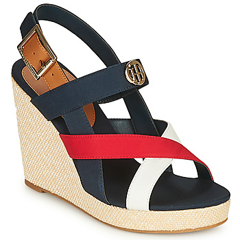 kengät Naiset Sandaalit ja avokkaat Tommy Hilfiger BASIC HARDWARE HIGH WEDGE SANDAL Blue / White / Red