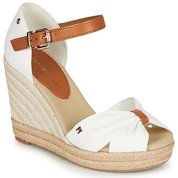 kengät Naiset Sandaalit ja avokkaat Tommy Hilfiger BASIC OPENED TOE HIGH WEDGE White