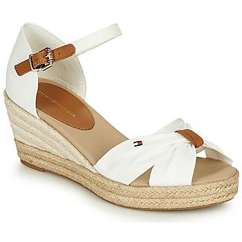 kengät Naiset Sandaalit ja avokkaat Tommy Hilfiger BASIC OPENED TOE MID WEDGE White