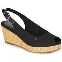 kengät Naiset Sandaalit ja avokkaat Tommy Hilfiger ICONIC ELBA SLING BACK WEDGE Black