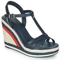 kengät Naiset Sandaalit ja avokkaat Tommy Hilfiger TOMMY STRAPPY HIGH WEDGE Sininen