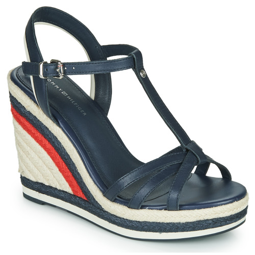 kengät Naiset Sandaalit ja avokkaat Tommy Hilfiger TOMMY STRAPPY HIGH WEDGE Blue