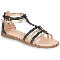 kengät Tytöt Sandaalit ja avokkaat Geox SANDAL KARLY GIRL Musta / Kulta