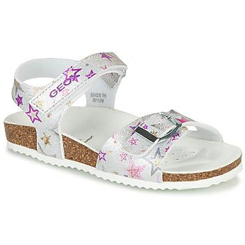 kengät Tytöt Sandaalit ja avokkaat Geox J ADRIEL GIRL Hopea