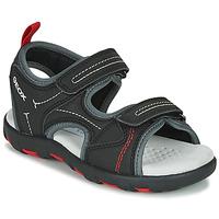 kengät Pojat Urheilusandaalit Geox JR SANDAL PIANETA Black / Red