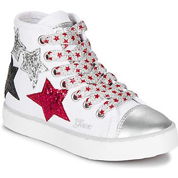 kengät Tytöt Korkeavartiset tennarit Geox JR CIAK GIRL White / Red / Black