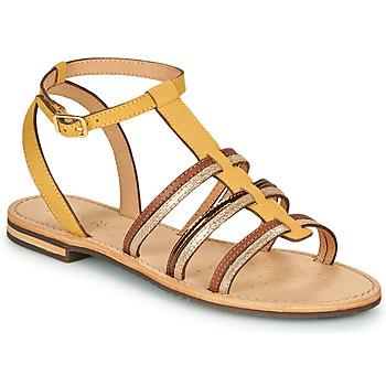 kengät Naiset Sandaalit ja avokkaat Geox D SOZY Yellow / Brown / Kulta