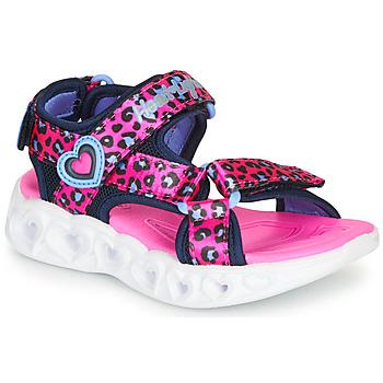 kengät Tytöt Urheilusandaalit Skechers HEART LIGHTS Vaaleanpunainen / Musta