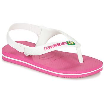 kengät Tytöt Varvassandaalit Havaianas BABY BRASIL LOGO II Pinkki / Valkoinen