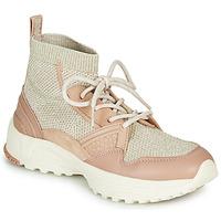 kengät Naiset Korkeavartiset tennarit Coach C245 RUNNER Pink / Nude / Hopea