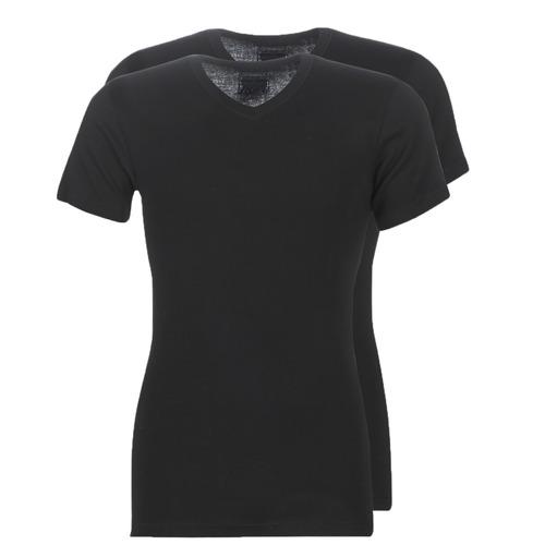 vaatteet Miehet Lyhythihainen t-paita Athena T SHIRT COL V Black