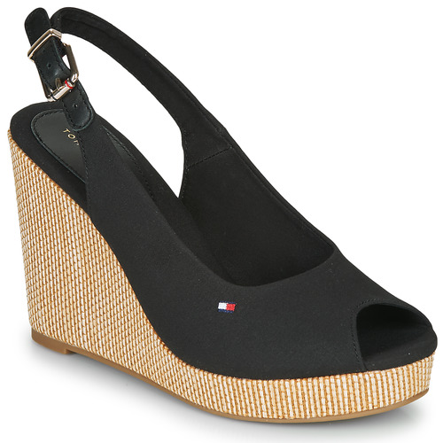 kengät Naiset Sandaalit ja avokkaat Tommy Hilfiger ICONIC ELENA SLING BACK WEDGE Musta