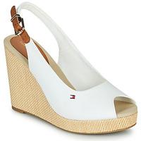 kengät Naiset Sandaalit ja avokkaat Tommy Hilfiger ICONIC ELENA SLING BACK WEDGE Valkoinen