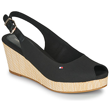 kengät Naiset Sandaalit ja avokkaat Tommy Hilfiger ICONIC ELBA SLING BACK WEDGE Musta