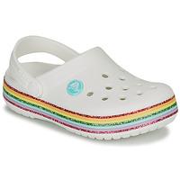 kengät Tytöt Puukengät Crocs CROCBAND RAINBOW GLITTER CLG K White