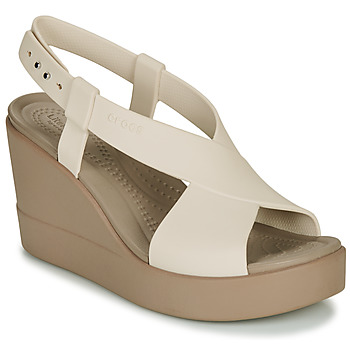 kengät Naiset Sandaalit ja avokkaat Crocs CROCS BROOKLYN HIGH WEDGE W Beige