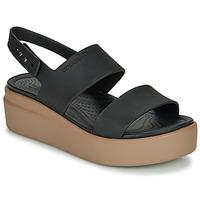 kengät Naiset Sandaalit ja avokkaat Crocs CROCS BROOKLYN LOW WEDGE W Musta / Kamelinruskea