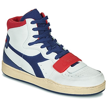 kengät Miehet Korkeavartiset tennarit Diadora MI BASKET USED White / Blue / Red