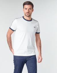 vaatteet Miehet Lyhythihainen t-paita Fred Perry TAPED RINGER T-SHIRT Valkoinen