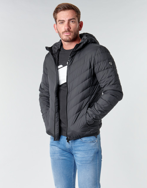 vaatteet Miehet Toppatakki Emporio Armani EA7 TRAIN CORE SHIELD M DOWN LIGHT HOODIE JACKET Black