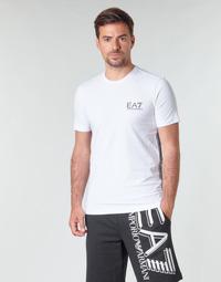 vaatteet Miehet Lyhythihainen t-paita Emporio Armani EA7 TRAIN LOGO SERIES M TAPE TEE ST Valkoinen