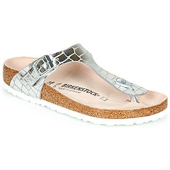 kengät Naiset Varvassandaalit Birkenstock GIZEH Hopea