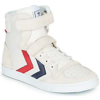 kengät Lapset Korkeavartiset tennarit Hummel SLIMMER STADIL LEATHER HIGH JR White