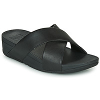 kengät Naiset Sandaalit FitFlop LULU CROSS SLIDE SANDALS - LEATHER Black