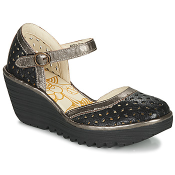 kengät Naiset Korkokengät Fly London YVEN Musta / Bronze