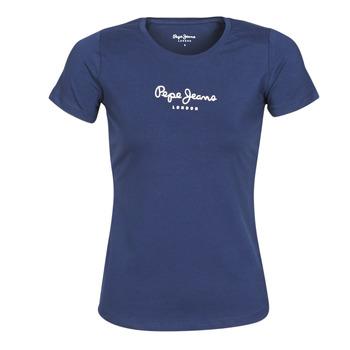 vaatteet Naiset Lyhythihainen t-paita Pepe jeans NEW VIRGINIA Laivastonsininen