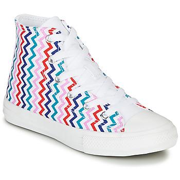 kengät Tytöt Korkeavartiset tennarit Converse CHUCK TAYLOR ALL STAR VLTG - HI Valkoinen  / Sininen / Punainen